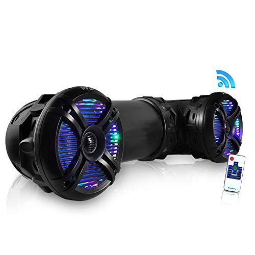 "Pyle Marine ATV Powered Speakers - 4.0 Wireless Bluetooth, 800 Watt, Color Changing LED Lights, IP44 Waterproof, 6.5"" Dual Audio Sound System for UTV, Golf Carts, Jetski and Snowmobile"