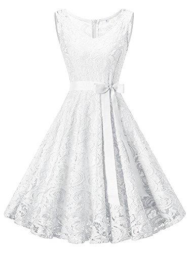 DYLH Vestito Donna in Pizzo Senza Manica Scollo Rotondo Elegante Vintage Cerimonia Cocktail Molti Colori V-bianco