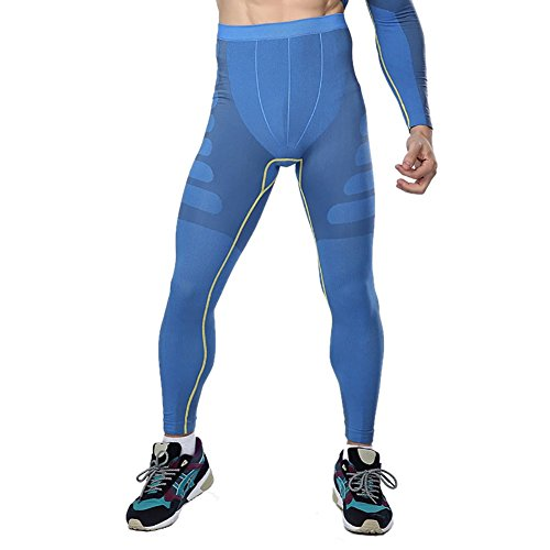 Prettywell Mens Sports Compression Quick Dry Ankle Length Tight Pants MA05 (XL, Blue)