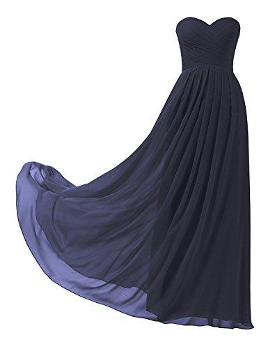 D'honneur Mousseline Bleu Marine Demoiselle Robe Femme Elégante Soirée Mariage Cérémonie Huini Longue Bustier WE6vp