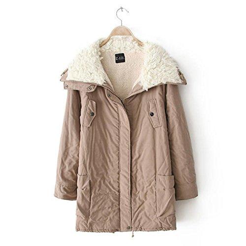 Zipper Lapel Jacket DYF Medium Thickened Khaki sleeve Pocket Coat length Long qwx1X4