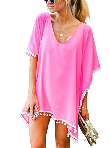 Women's Chiffon Pom Pom Kaftan Swimwear Bathing Suit Beach Cover up Free Size Light Pink ()