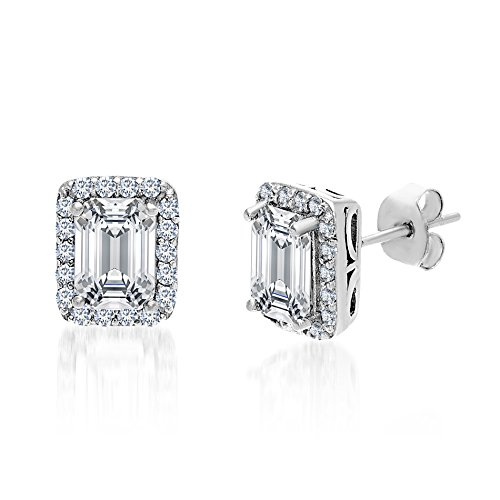 (MIA SARINE 1-3/8 Cttw Emerald Cut Cubic Zirconia Stud Earrings for Women in Rhodium Plated 925 Sterling Silver (White))