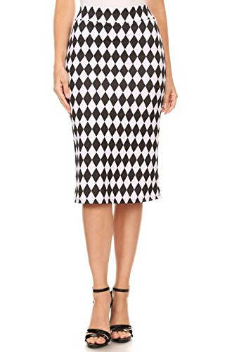 Women's Below The Knee Pencil Skirt for Office Wear - Made in USA (Size X-Large, Black White Geometric Print)