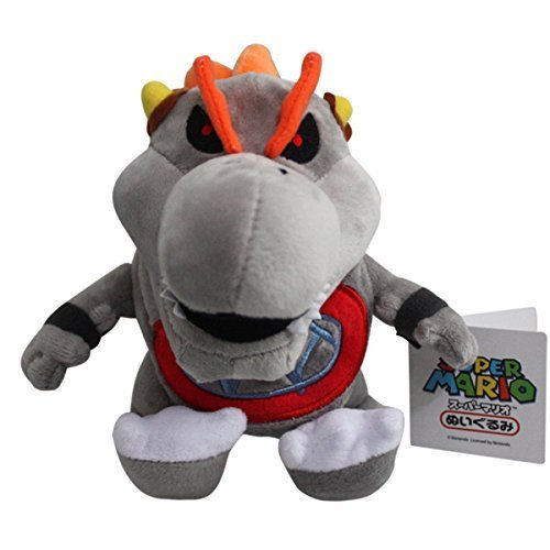 Baby Dry Bowser Bones Koopa Super Mario Bros Plush Toy Stuffed Animal Grey with a Free Badge As Gift ()