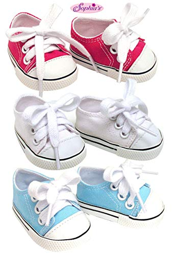 18 Inch Doll Sneakers. Sneaker Set to fit American Girl Dolls. White, Hot Pink & Blue Sneakers