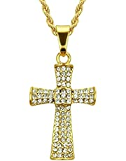 Hiphop Ketting, Ketting hiphop kruis ketting Europese stijl volledige sleutelbeen ketting ketting kruis 3 62 4 cm (gouden geel) -twistische ketting 60cm