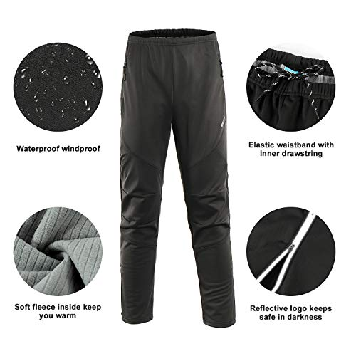 Men/'s Winter Warm Up Thermal Fleece Windproof Waterproof Outdoor Cycling Pants