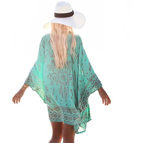 Bestyou▒ Women's Beachwear Cover-ups Tunic Chiffon Geometry Print Kimono Cardigan (Geometry Print F) One Size Fits Most