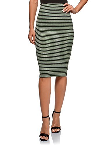 oodji Ultra Femme Jupe Taille lastique  C?tes Vert (6729s)
