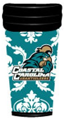NCAA Coastal Carolina Chanticleers Coffee Tumbler Damask