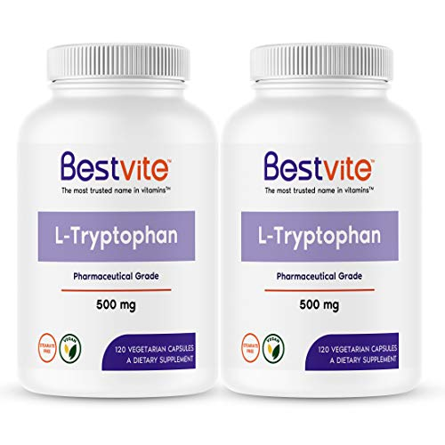 L-Tryptophan 500mg (240 Vegetarian Capsules) (2-Pack) - No Stearates - Vegan - Gluten Free - Non GMO