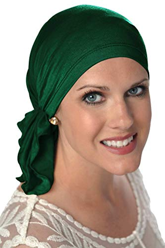 Slip-On Scarf- Caps for Women with Chemo Cancer Hair Loss Emerald Green