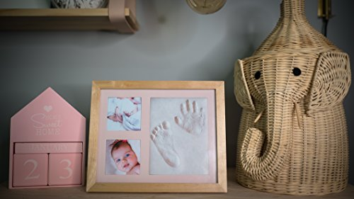 Baby Handprint Footprint Photo Frame Kit by Kubai for Newborn Girls & Boys (Free Date & Name Stamp) Choice of Mats to fit Room Wall Nursery - Mold Free - Best Personalized Gifts for Shower Registry. by Kubai (Image #5)