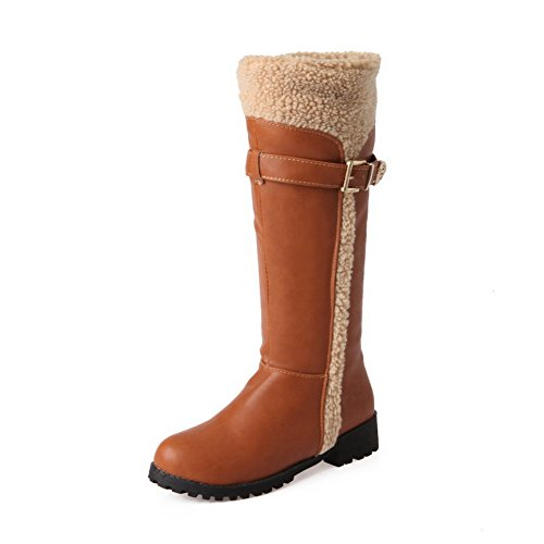 Yellow Ladies Sole Non Square Soft Boots 1TO9 Material Heels Buckle Slipping UYvvqd