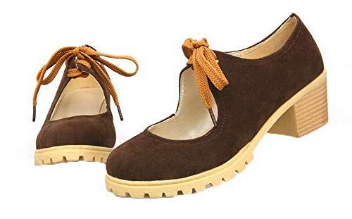 Chaussures Femme Agoolar Couleur Rond L Lacet Unie npnqXwa6