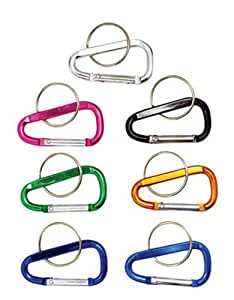 "New 6pc 2"" (50mm) Aluminum Carabiner D-ring Key Chain Clip Hook Assorted Colors"