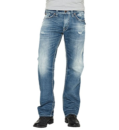 Silver Jeans Men's Zac Relaxed Fit Straight Leg Jeans With Flap Pockets, Indigo Sandblast, 32x32 (Leg Tab Straight)