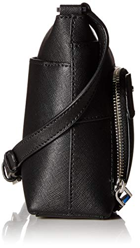 Silver Leather Black Top Klein Lily Crossbody Calvin Saffiano Zip at87WP
