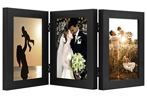 Golden State Art, Decorative Hinged Table Desk Top Picture Photo Frame, 3 Vertical Openings, with Real Glass (5x7 Triple, Black)