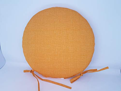 (WRS Alfresco Solid Yellow Indoor/Outdoor Round Bistro Chair Cushion)