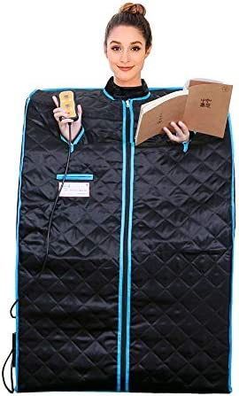 PINENG Portable Far Infrared Sauna Home Spa One Person Sauna Good for Weight Loss, Detox, Relaxation at Home, with Heating Foot Pad, Remote and Foldable Chair