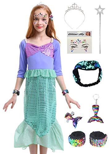 Little Girl Mermaid Sequins Long Sleeve Cosplay Halloween Costume (Pulple/Green, -