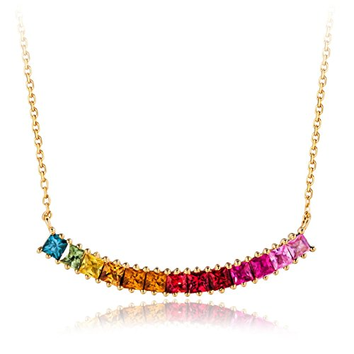 Carleen 18K Solid Rose Gold Colorful Rainbow Bar Color Princess Cut Sapphire Pendant Necklace for Women Girls, 18 inch