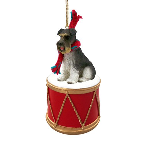 Little Drummer Schnauzer Gray Uncropped Christmas Ornament - Hand Painted - Delightful