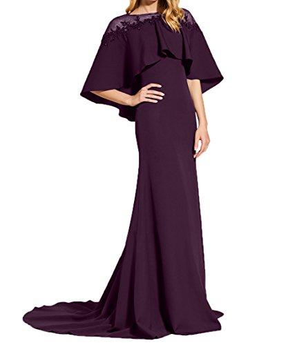 Traube Festlichkleider Brautmutterkleider Trumpet Abendkleider Schulter Meerjungfrau Lang Durchsichtig Damen Charmant w7Rz6qFw