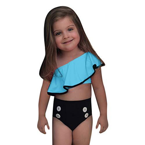 Sunhusing Children's Solid Color Ruched Ruffled Off-Shoulder Split Swimsuit Button Down Bikini Beachwear -