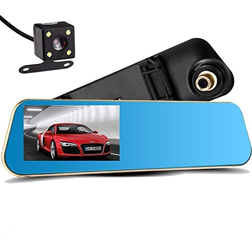 Car Camera Dual Lens with 16G Card, NOVPEAK Upgraded 4.3