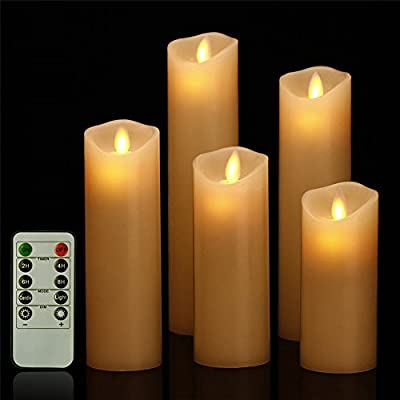 """HEIOKEY LED Flameless Candle Set of 5 (5"""" 6"""" 7"""" 8"""" 9"""") Battery Operated Dripless Real Wax Flickering LED Pillar Lights Realistic Dancing Candles with 2/4/6/8 Hours Timer and 10-Key Remote Control"""