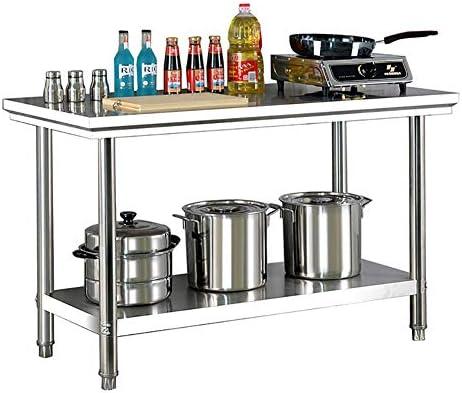 WRJ Küchentisch Aus Edelstahl, Arbeitstisch Mit Höhenverstellbarer Ablagefläche, Edelstahltisch Mit Rutschfesten Füßen, Gastro Tisch Für Küche, 120X 60 X 80 cm,Silber
