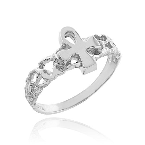 Fine 925 Sterling Silver Nugget Band Egyptian Ankh Cross Knuckle Ring, Size -