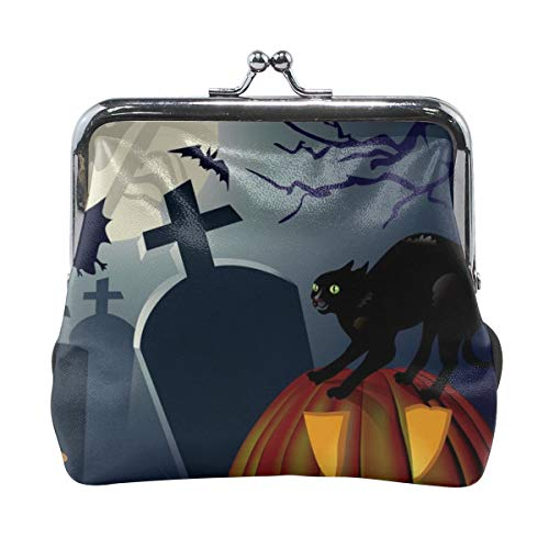 Poream Halloween Night Vector Image Cat Retro Leather Cute Classic Floral Coin Purse Clutch Pouch Wallet For Girls And Womens