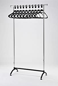 RACK51 Chrome Coat Stand Office Coat Rack with Black Hangers