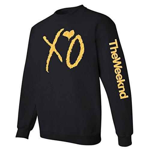 Tee Plaza - XO The weeknd sweatshirt GOLD print sweater- 2-side Black S