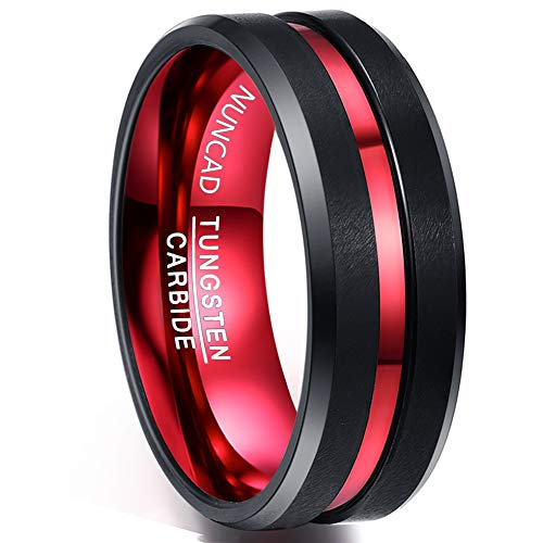 Nuncad Tungsten Carbide Weeding Band Ring Thin Red Line Beveled Matte Finish Comfort Fit Size 8 by NUNCAD