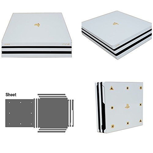 Premium Elaborated Skin Decal Sticker For PS4 Pro - POPSKIN White Gold Edition by POP SKIN