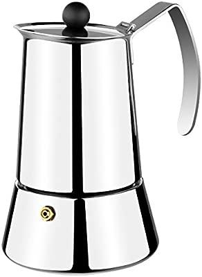 Monix Eterna - Cafetera Italiana con Capacidad 4 Tazas, Fabricada en Acero Inoxidable 18/10 y Apta para Todo Tipo de cocinas, incluida inducción