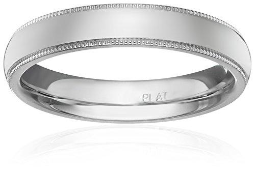 Standard Comfort-Fit Platinum Milgrain Band, 4mm, Size 6