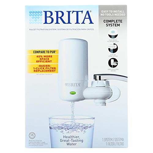 Brita Advanced Faucet Filtration System - White - 1 Count - Reduce the amount of Chlorine commonly found in tap water ()