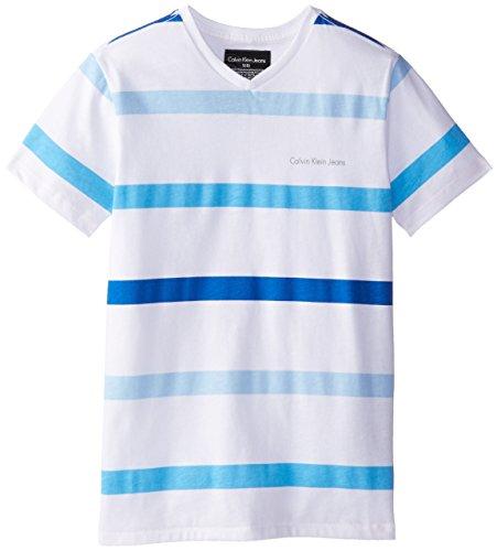 Calvin Klein Big Boys' Stripe V Neck Tee, White, Small