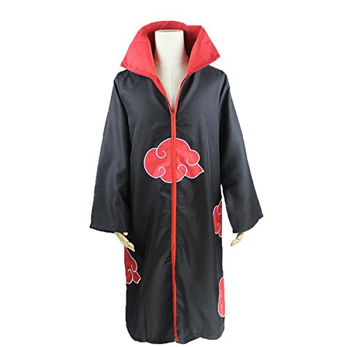 Poetic Walk Anime Naruto Akatsuki Cosplay Cloak Halloween Costume Trench (M(161-167cm), Black)
