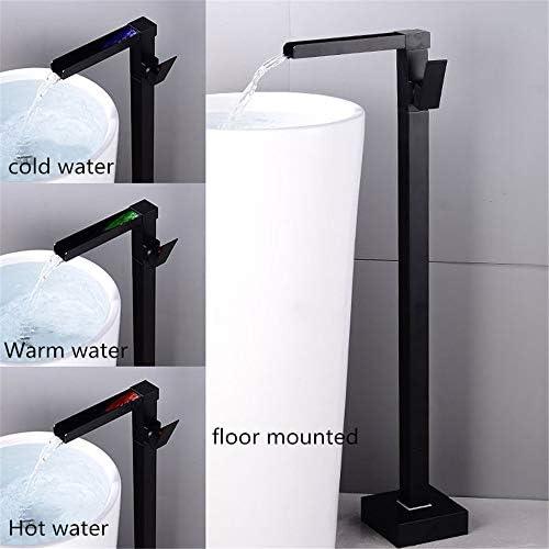浴槽の蛇口、 自立型タブフィラーバスタブ蛇口バスタブ蛇口滝スパウトタブ温水と冷水ブラック 掃除とメンテナンスが簡単 (Color : Black a, Size : Free size)