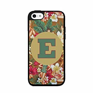 E Initial Floral Print with Pin-Up Girls - Plastic Phone Case Back Cover (iPhone 5 5s D Plastic) includes diy case Cloth and Warranty Label