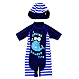 Yunqir Kids Wetsuit 2 Pcs/Set Children's One Piece Swimsuits Kids Whale Stripe Patterns Sunscreen Wetsuit for Water Sports(Blue)
