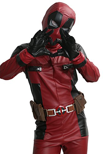 XCOSER Mens Deluxe DP Movie Cosplay Costume PU Leather Full Suit Adult 2016Size XXL (Adult Deadpool Costume)