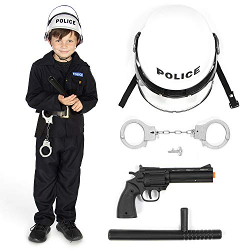 Hauntlook Prepared for Duty Police Officer & Gear - Law Enforcement Outfit & Accessories (Youth Medium) Blue